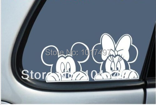 "Free Shipping Mickey & Minnie Mouse  ""Peeking"" Vinyl Car Decal"