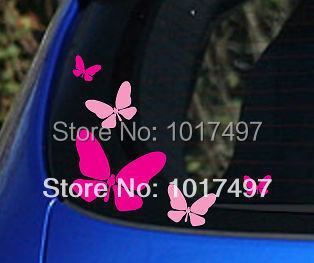 Free Shipping Pink and Hot Pink 5x Butterfly Vinyl Car Stickers