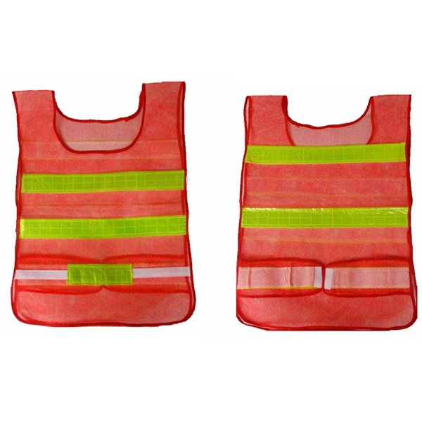 2pcs Reflective Red Traffic Security Vest Mesh Stripes Waistcoat