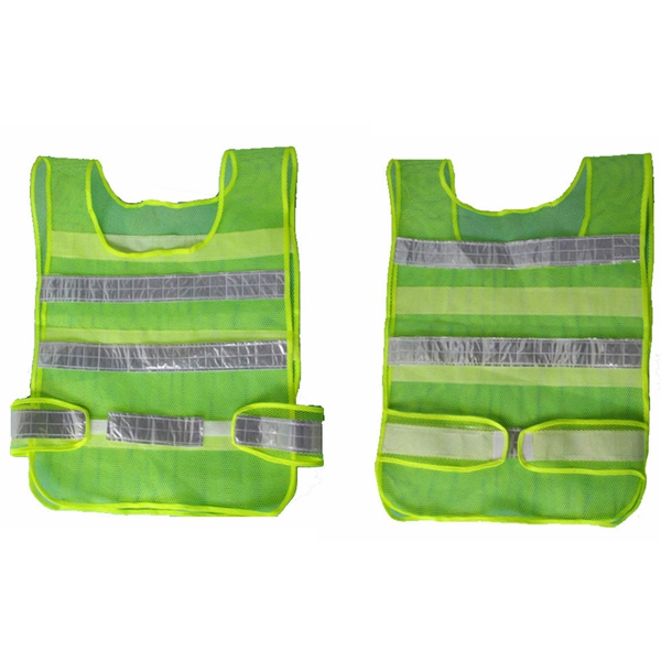 2pcs Reflective Green Traffic Security Vest Mesh Stripes Waistco