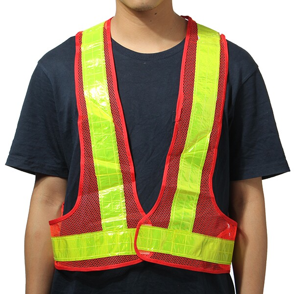 2pcs Orange&Yellow Reflective Vest High Visibility Warning Safet