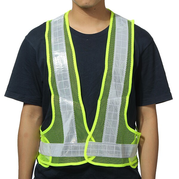 2pcs Yellow&White Reflective Vest High Visibility Warning Safety