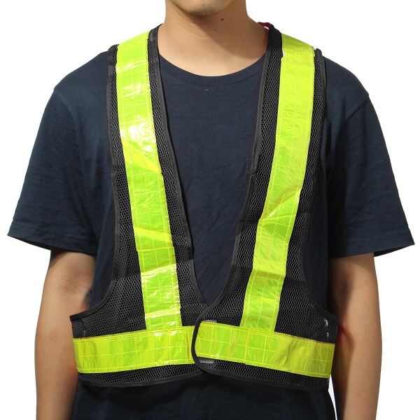 2pcs Black&Yellow Reflective Vest High Visibility Warning Safety