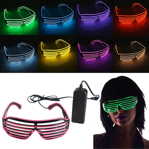EL Wire Neon LED Light Shutter Shaped Fashionable Glasses For Co