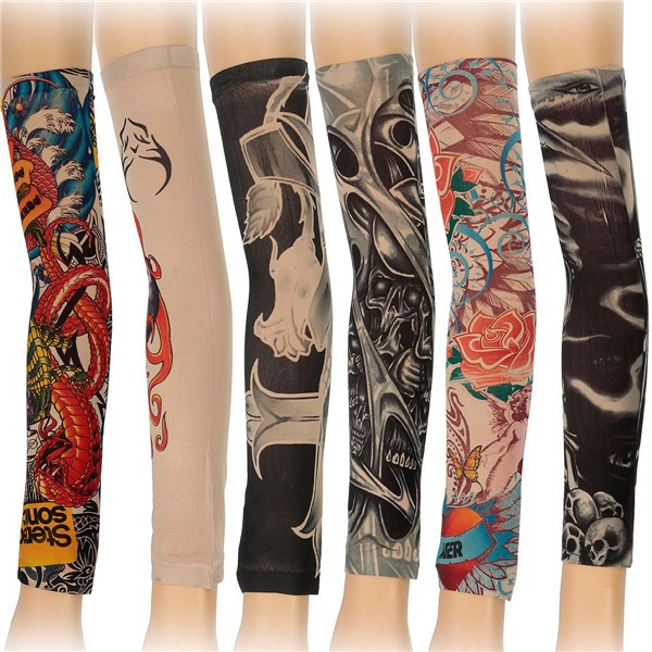 6pcs Styles Mix Temporary Tattoo Sleeves Stretchy Halloween Part