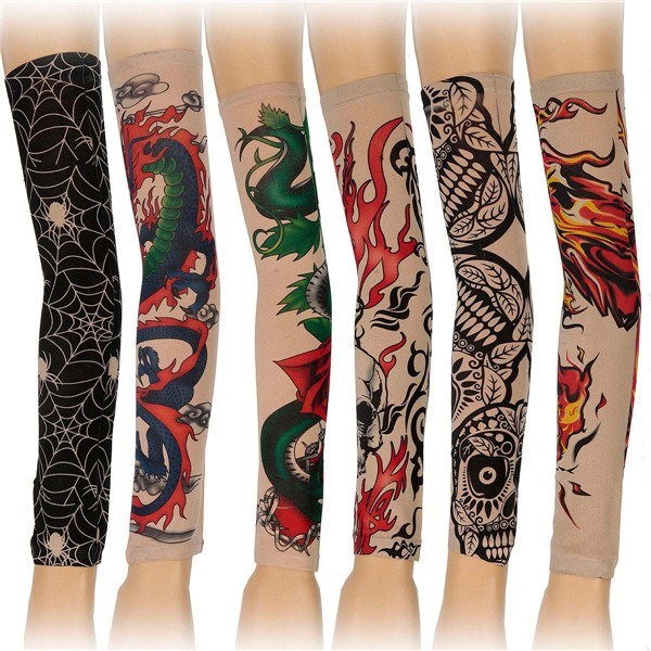 6pcs Tattoo Sleeves Mix Style Stretchy Temporary Halloween Party