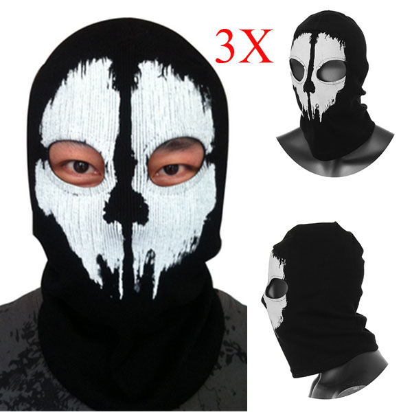 3X Call Of Duty Cosplay Black Ghost Skull Motorcycle Ski Face Ma