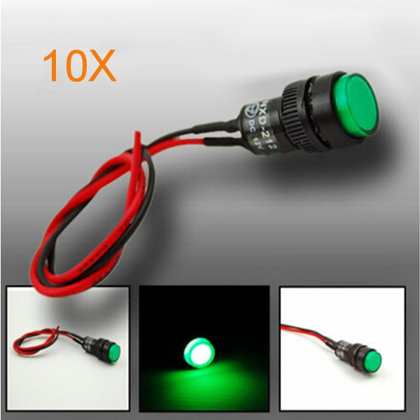 10X10mm Universal LED Indicator Dash Panel Warning Light Lamp