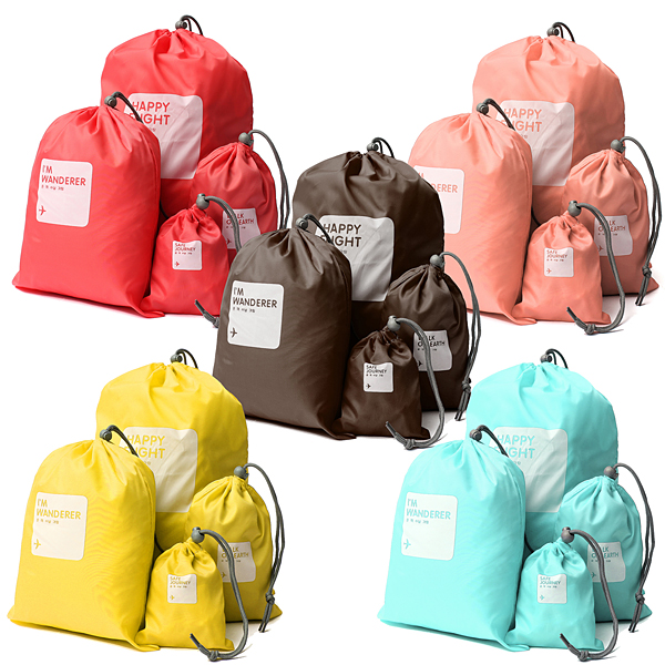 4Ps Drawstring Storage Travel Bag Waterproof Candy Color XS S M