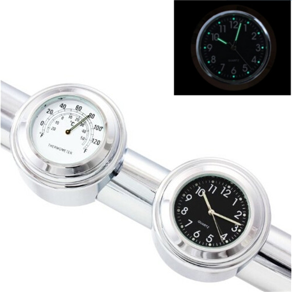 7/8inch Motorcycle Handlebar Chrome Clock Thermometer For Yamaha