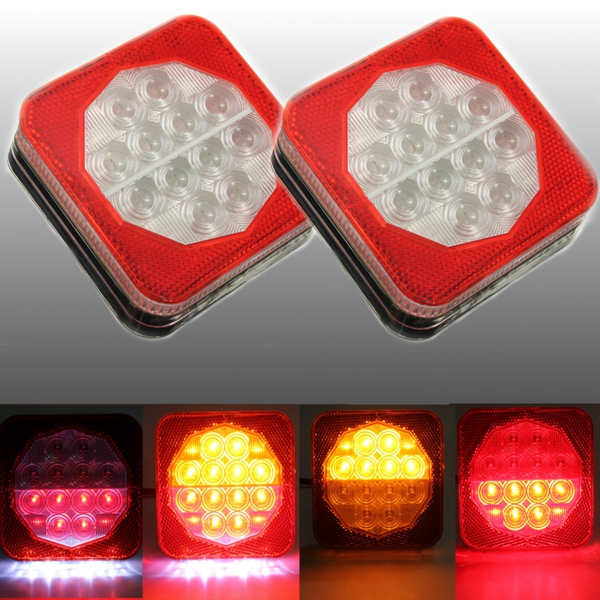 1pair 12V LED Trailer Van Truck Rear Brake Tail Indicator Light