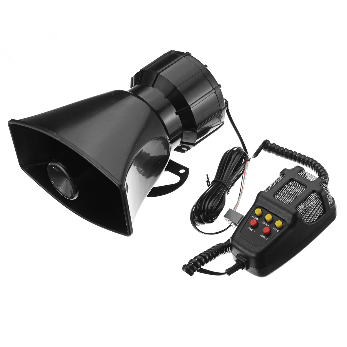 100W Car Warning Alarm 5 Sound Loudly Police Fire Siren Horn PA
