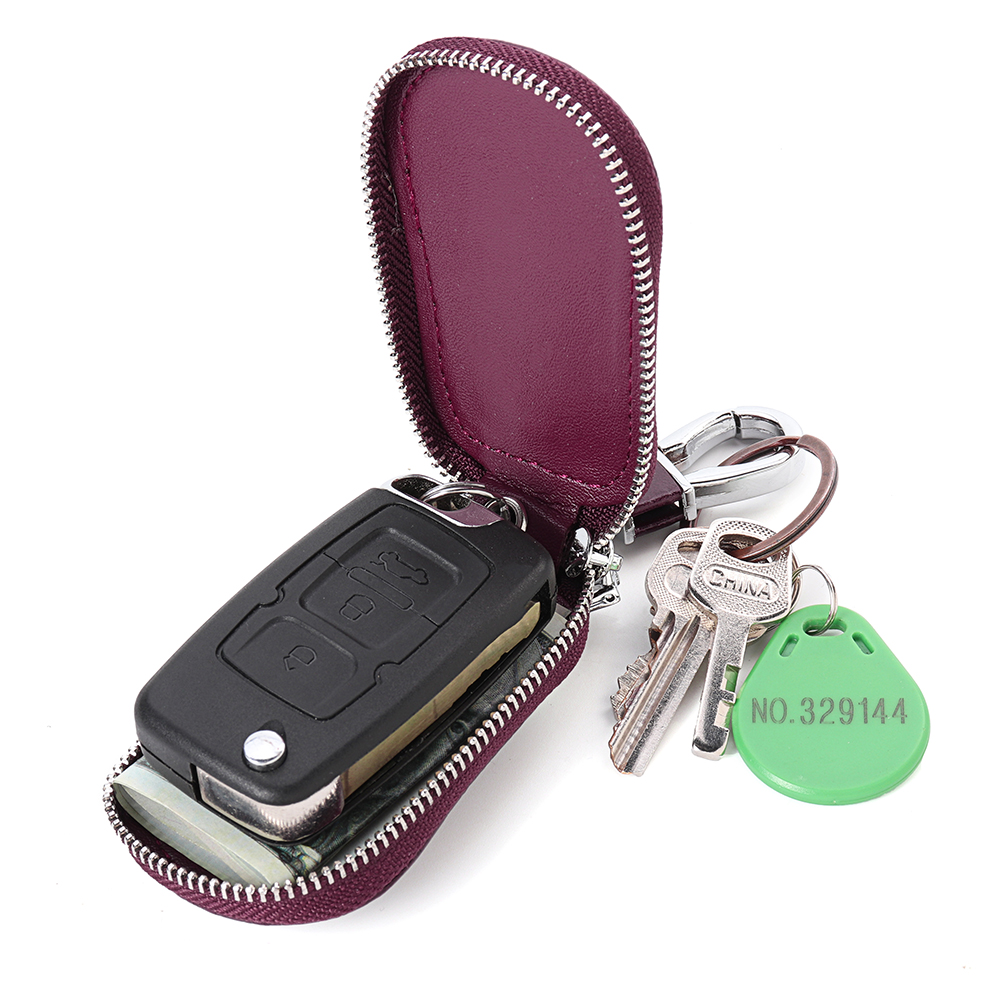 4*2*8CM Genuine Leather Car Key Case Bag Keychain Remote Protect