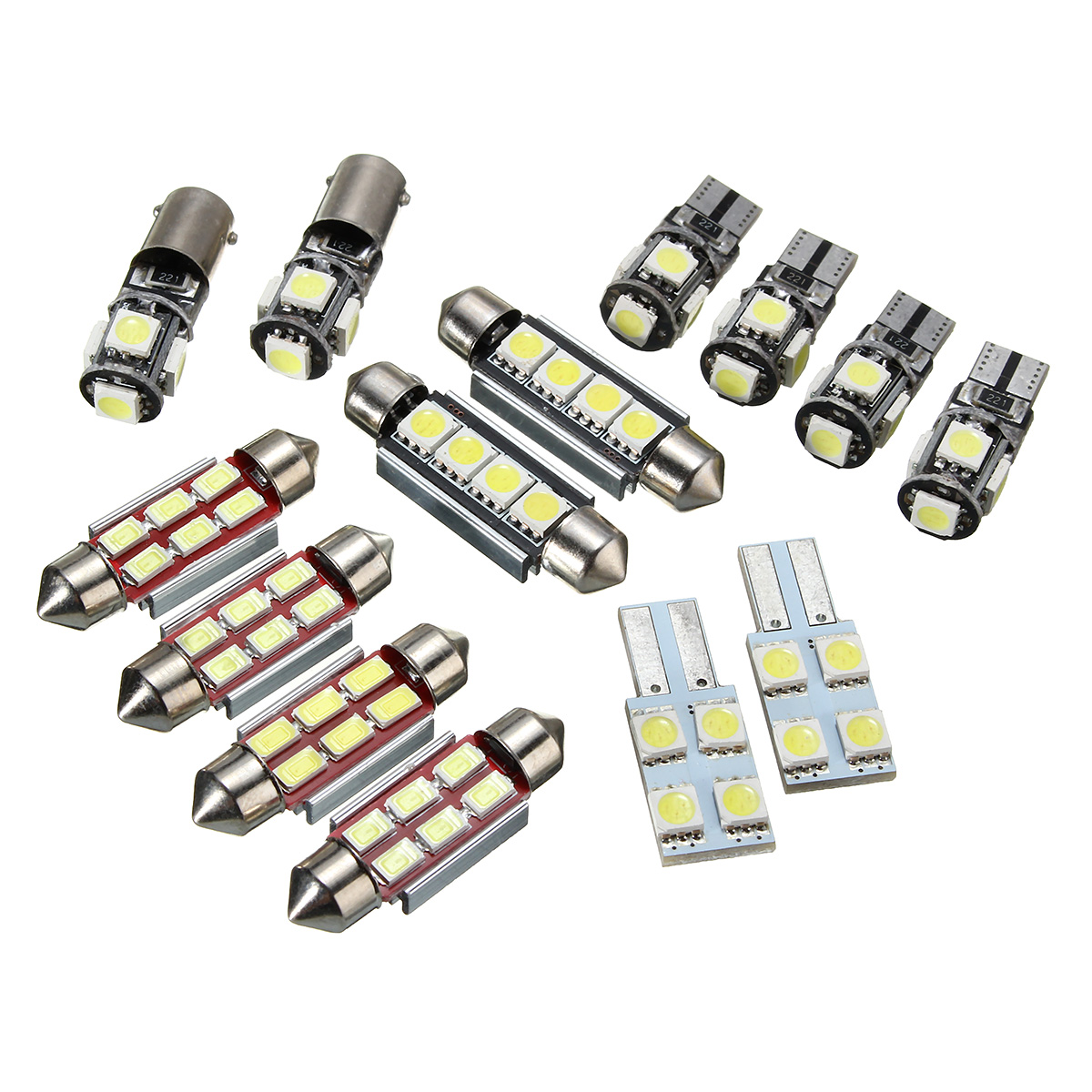 14Pcs T5 Car LED Interior Reading Lights Festoon Dome Bulb Kit W