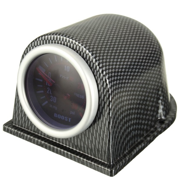 52mm Turbo Boost Gauge Meter Carbon Fiber Pod Smoke Face Univers