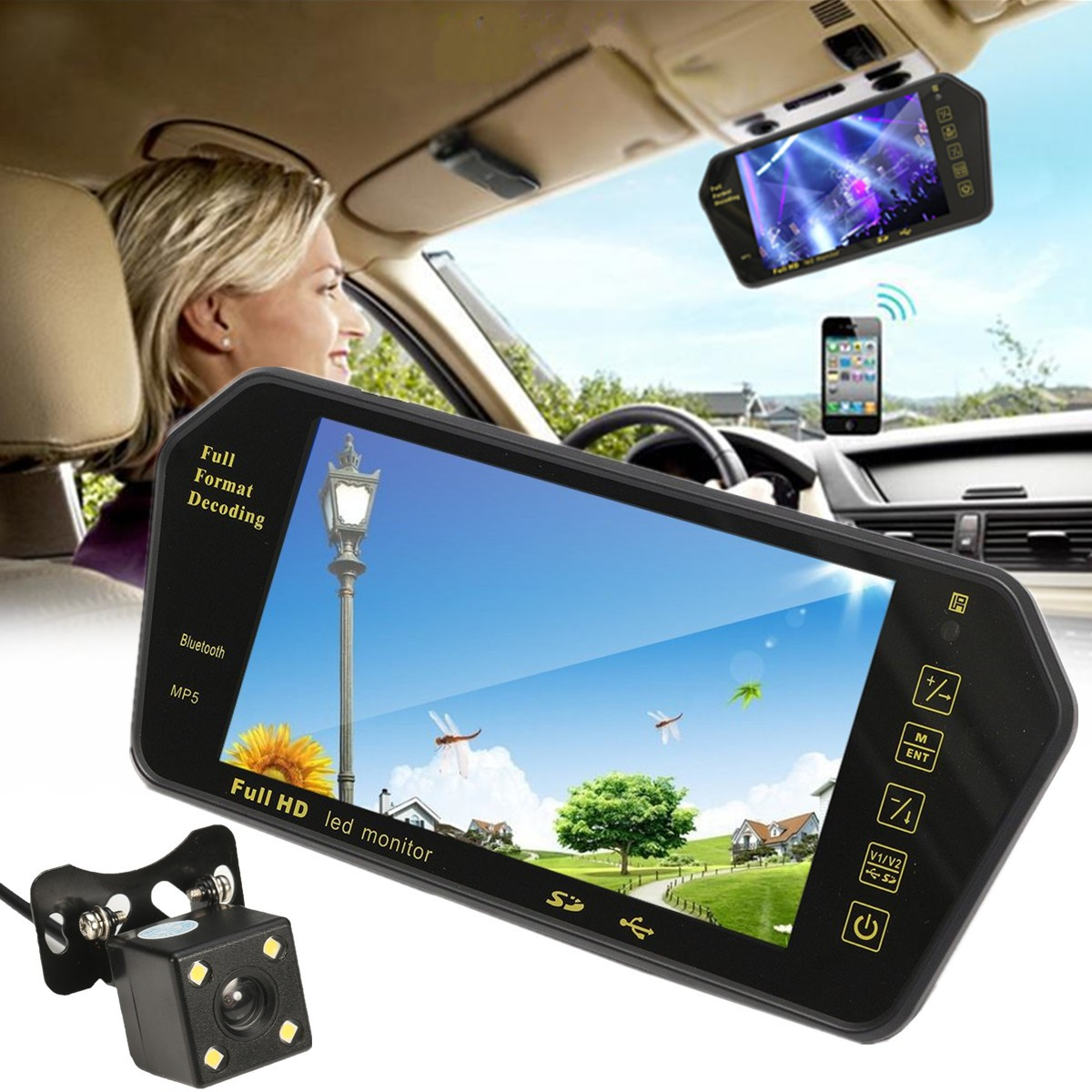 7 Inch TFT LCD bluetooth Car Rear View Parking Mirror Monitor +