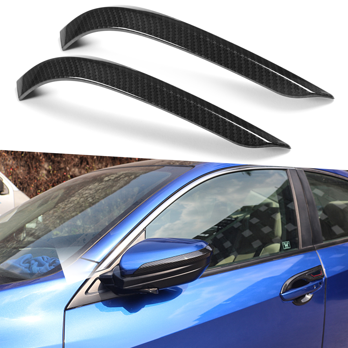 2 X Carbon Fiber Color Door Side Mirror Cover Car Decals Trim Fo