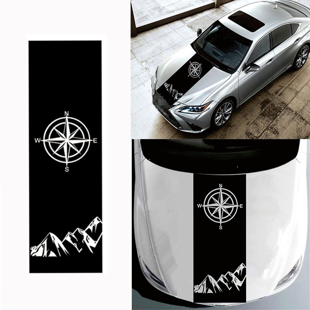 130x40cm Compass Pattern Car Hood Stickers Vinyl Decals Universa