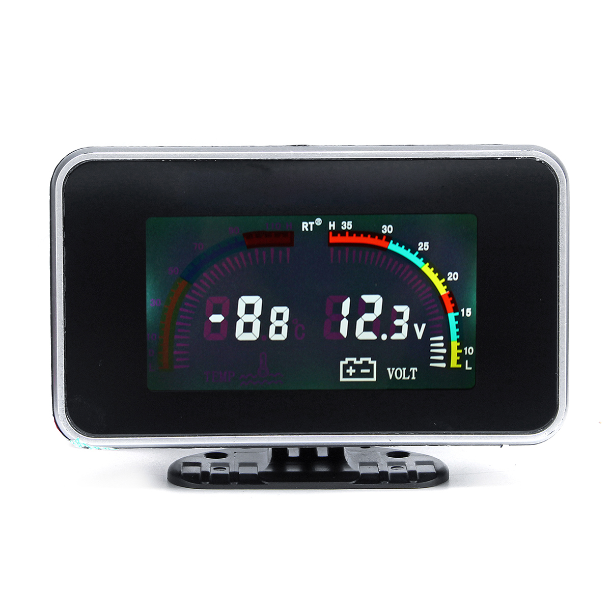 12V 24V 2 In 1 LCD Car Digital Gauge Voltage Pressure Water Temp