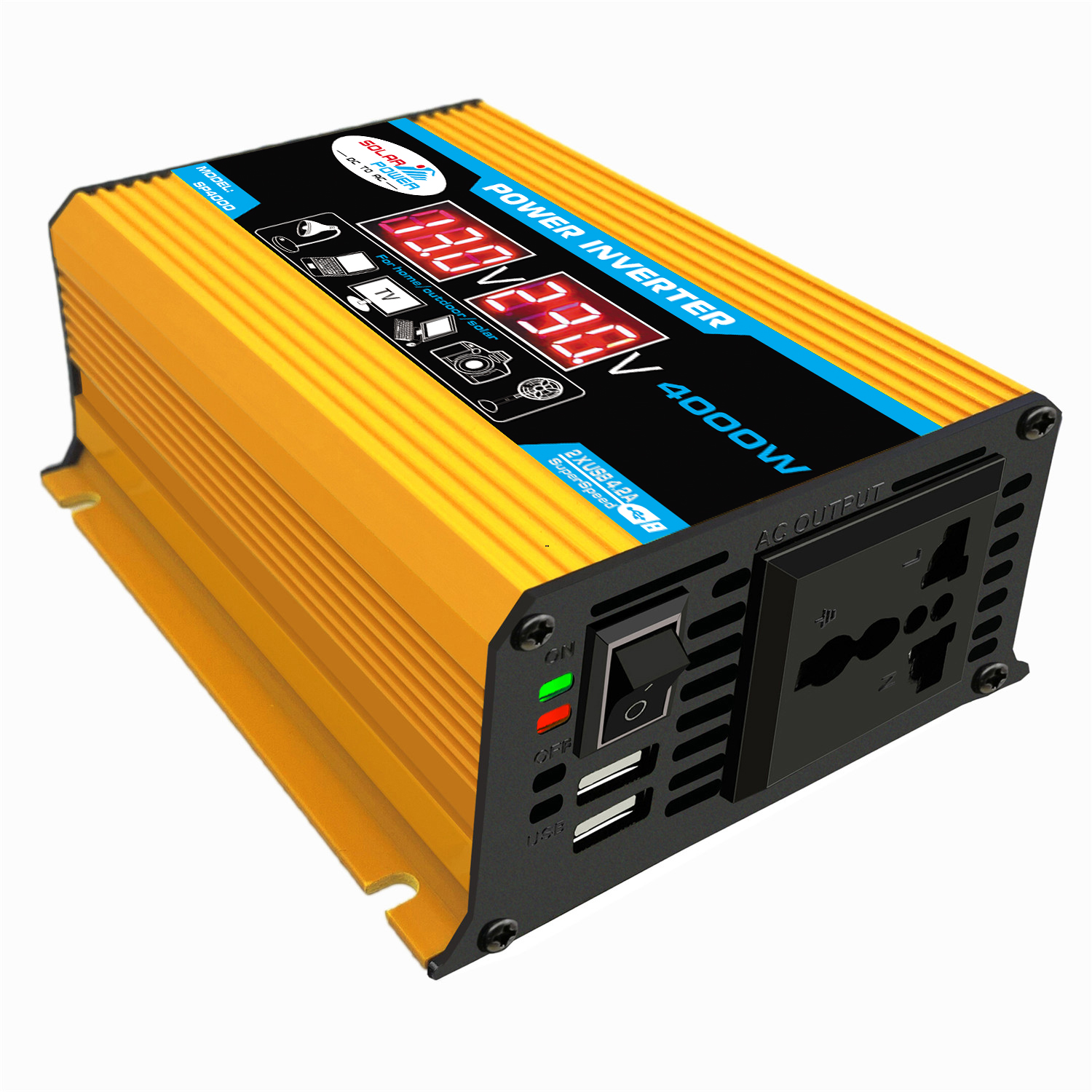 4000W Peak Car Power Inverter 12V-220V/110V Modified Sine Wave C