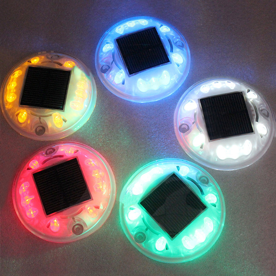 5 Color 10 Lamp Beads Round Plastic Solar Light Underground Unde