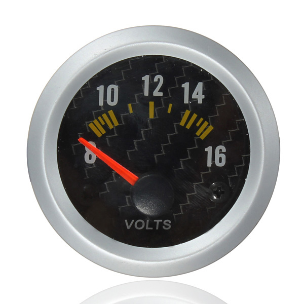 Carbon Fiber Face Volt Meterr Volt Gauge 12V Yellow LED 8 to 16