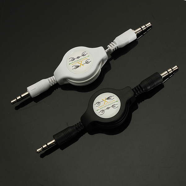 3.5mm Male to Male AUX Retractable Car Stereo MP3 Audio Cables A
