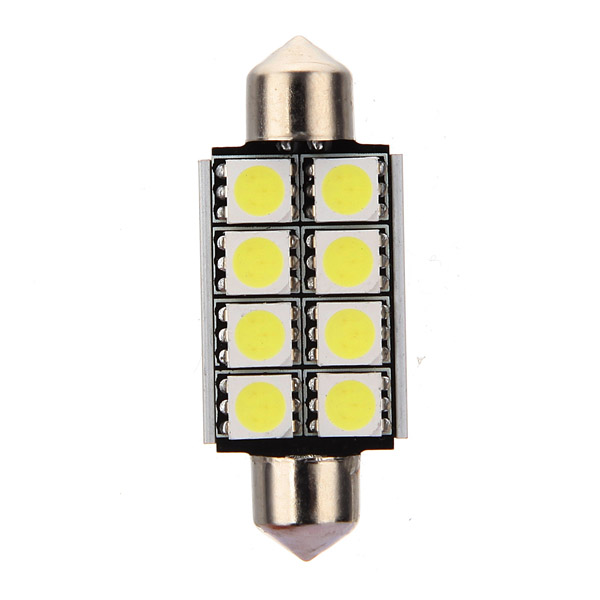 12V 2mm 8 SMD 5050 LED Pure White Canbus Festoon Dome Roof Light