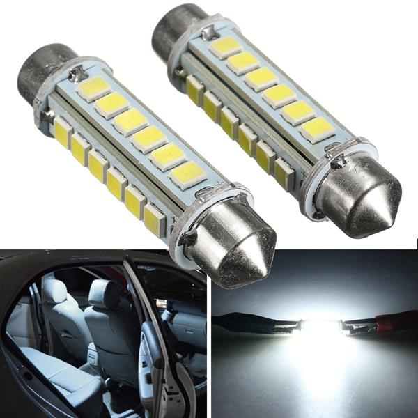 2pcs 44mm 2.6W 2835 24SMD White Festoon LED Interior Dome Light