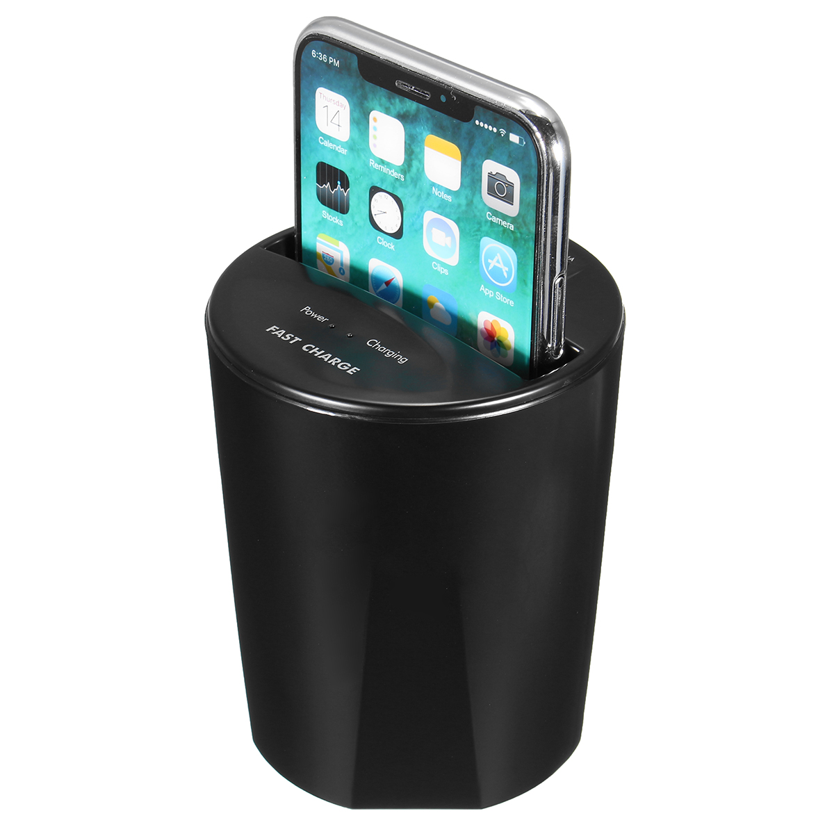 10W Fast Qi Wireless Charger Car Cup Holder USB Output for iPhon