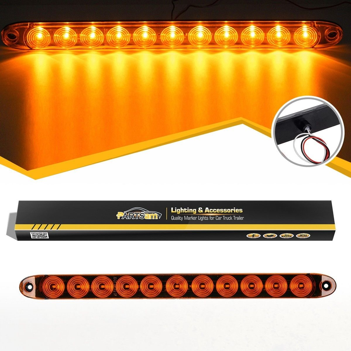 11LED Amber Car Turn Signal Lights Side Maker Lamp for Trailer T