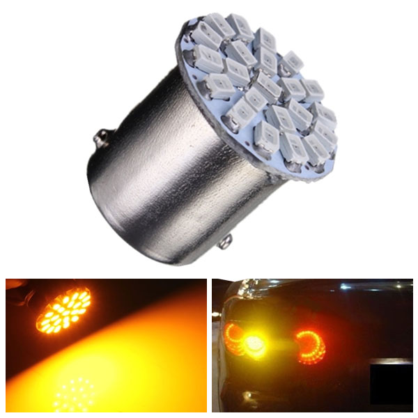 1pc Yellow/Amber P21W 1156 22-SMD LED Car Tail Turn Signal Lamp