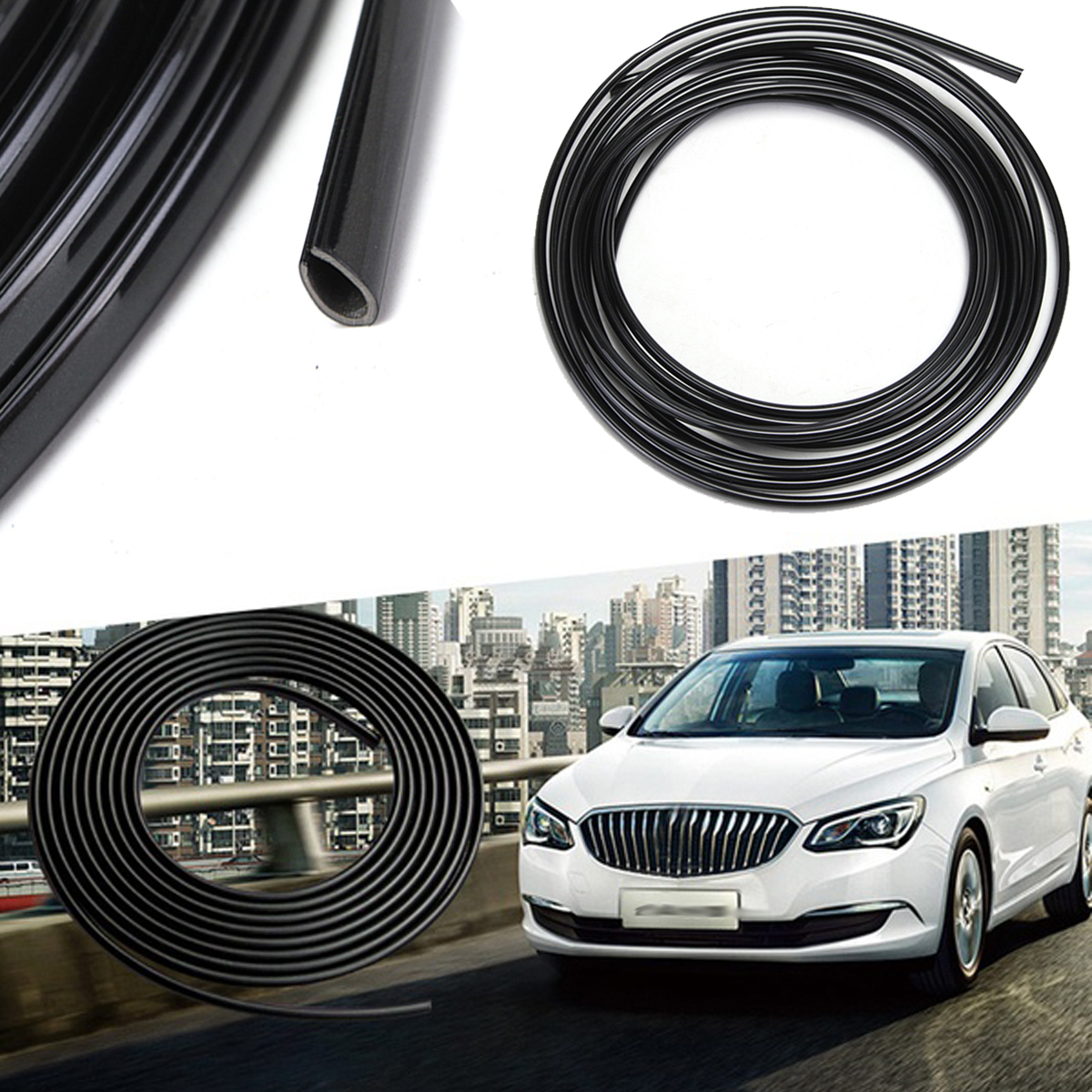5m Rubber Car Interior Moulding Trim Strip Black Flexible Decora