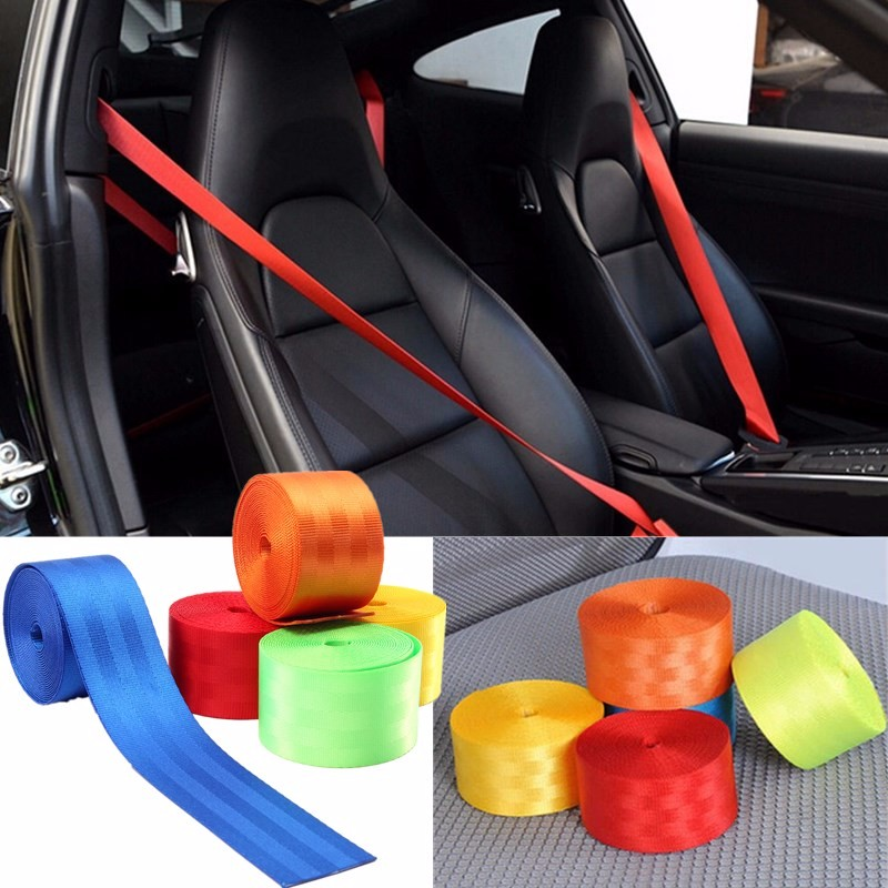 380cmX4.8cm Retractable 3 Bolt Point Front Car Seat Belt Safety