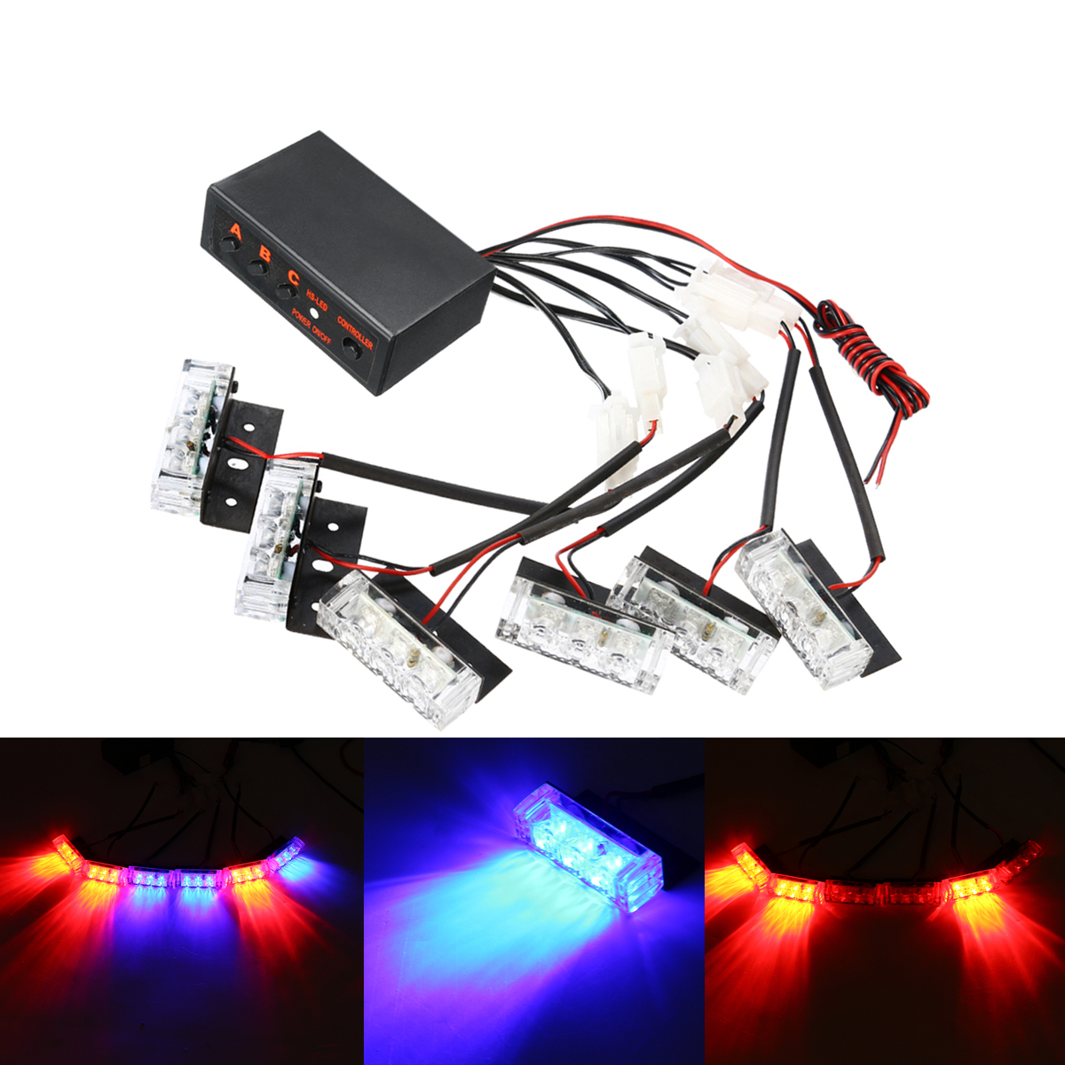 12V LED Red Blue Strobe Flash Lights Emergency Light Police Dash
