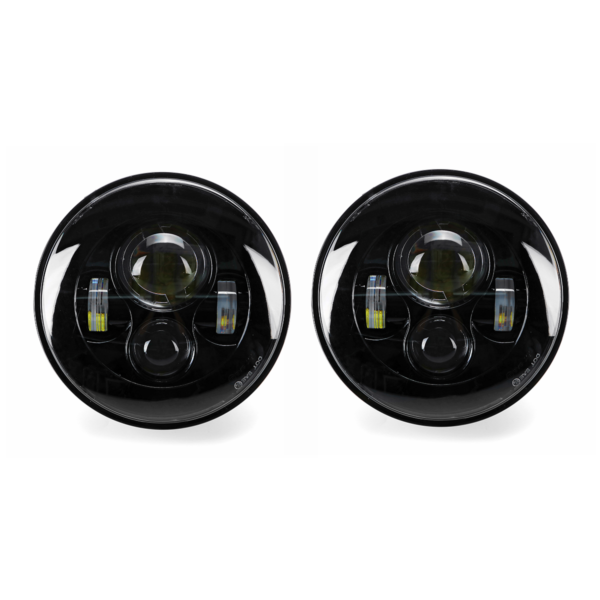2 x 7 Round LED Projection Headlights Head Lamp Hight/Low Beam F