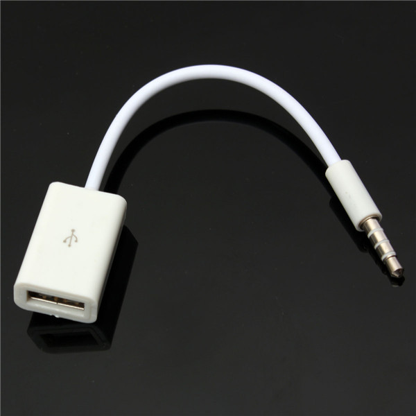 Car MP3 AUX 3.5mm Male Audio Plug to Female USB 2.0 Converter Ca