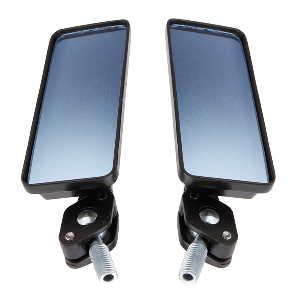 8mm/10mm Motorcycle Review Mirrors Blue Glass Lens Chrome Rrecta