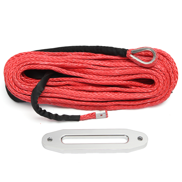 12MMX30M 12000lbs Synthetic Rope Winch Cable Anchor Red With Haw