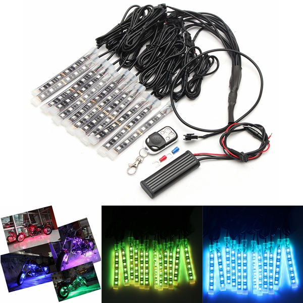 12x LED Remote Wireless Neon Light Strips Kit For Car Truck Lorr