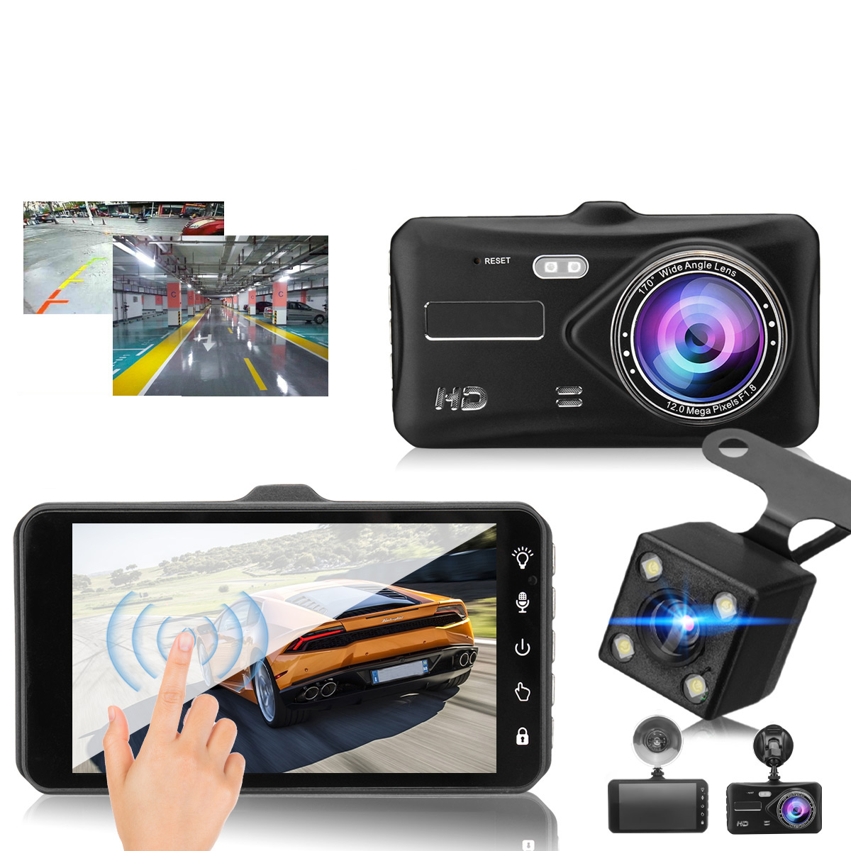 4 Inch 1080P Touch Screen Dual Lens Front + Rear Car Dash Cam DV