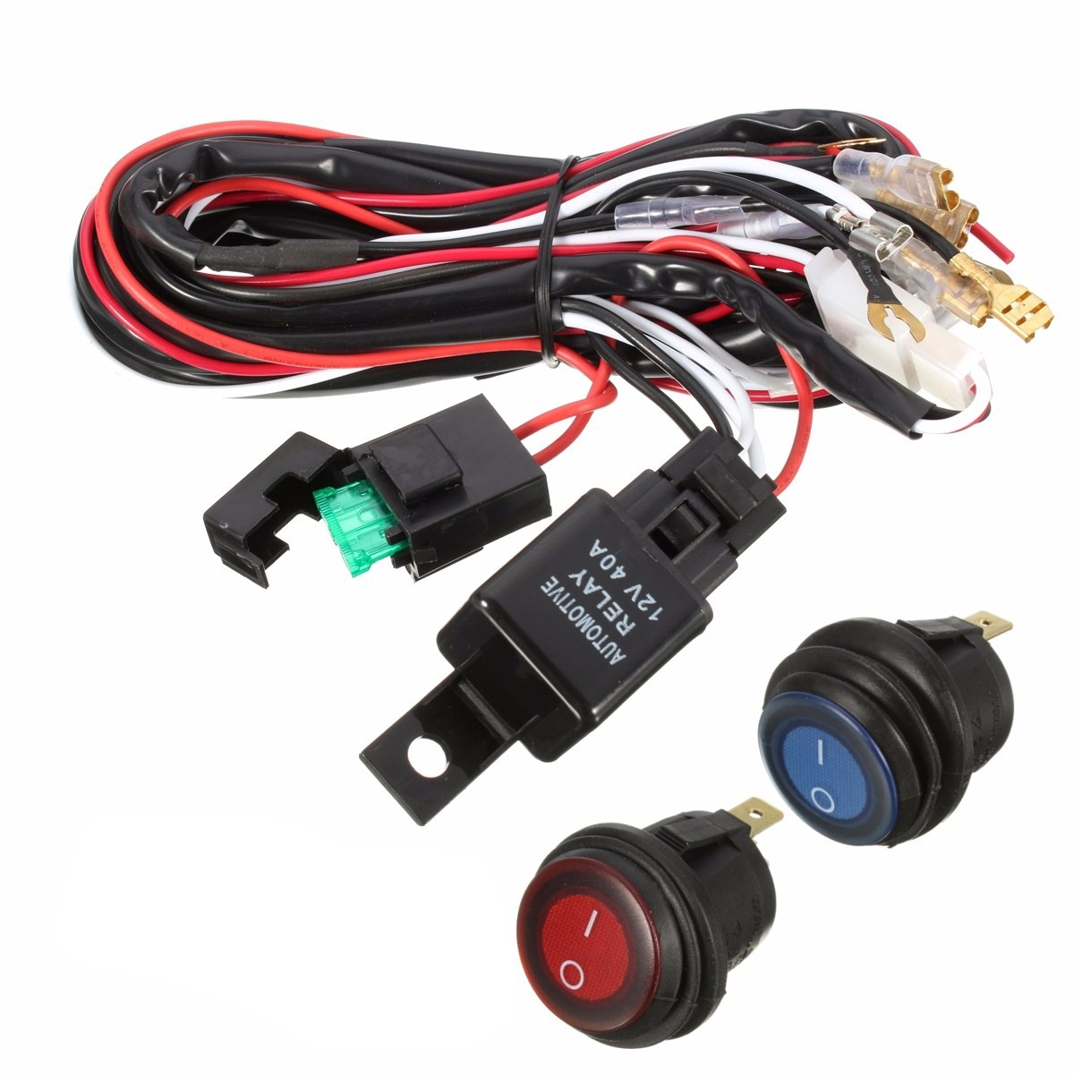 40A 12V LED Light Bar Wiring Harness Relay On/Off Switch For Jee