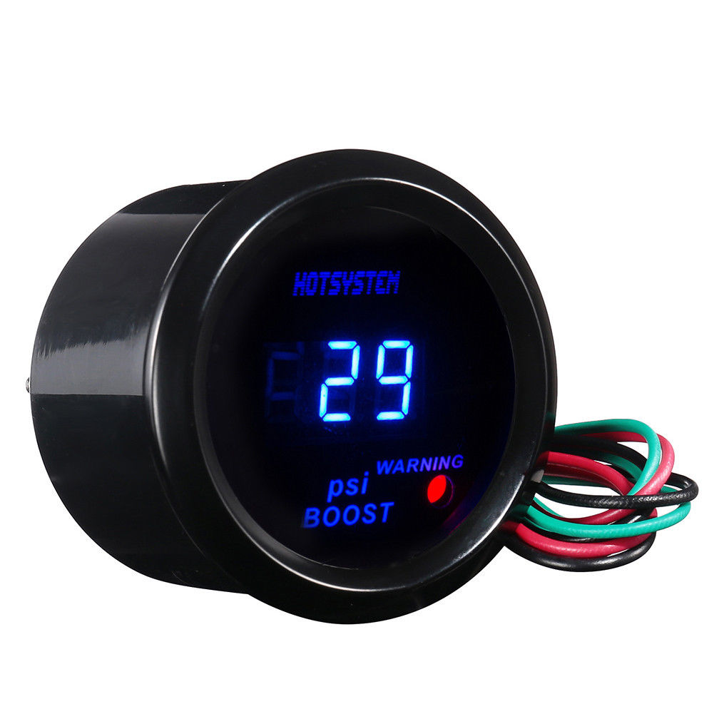 2 Inch 52mm Black Cover Car Universal Digital Blue LED PSI Turbo