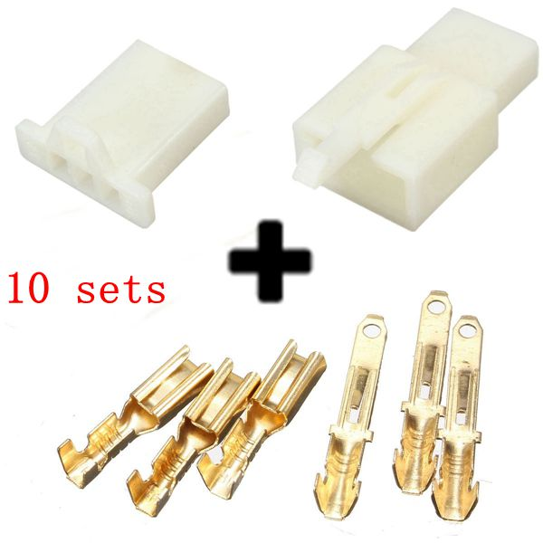 10sets 2.8mm 3 Way Motorcycle Electrical Male Female Connector T