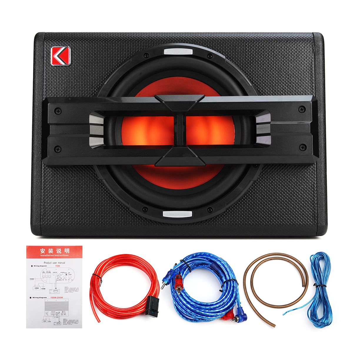10'' 1200W Pro Car Active Boxed Subwoofer BASS HiFi Powered Ampl