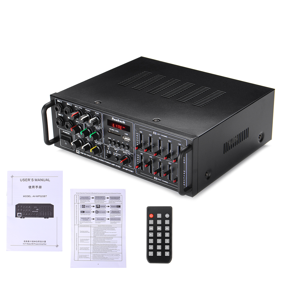 110V-240V 1200W 325BT Amplifier with Durable Remote Control Port