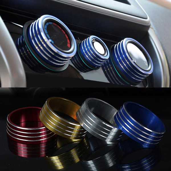 3pcs/Set Cars Alu Decoration Stereo Air Conditioning Knob Ring f