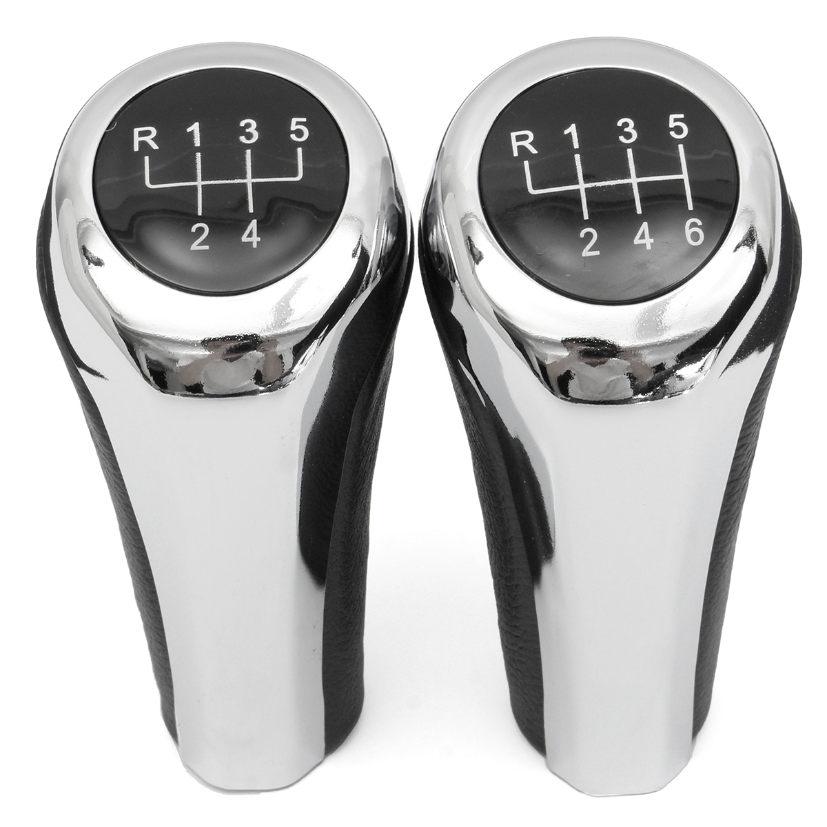 5 6 Speed Leather Chrome Aluminum Manual Gear Shift Knob For BMW