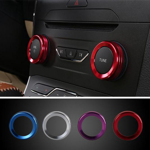 4pcs/Set Cars Alu Decoration Stereo Knob Ring Air Conditioning K