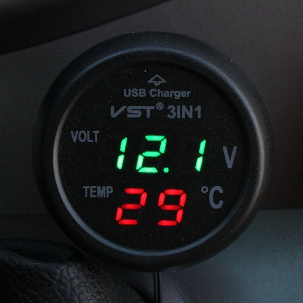 Car USB Charger Voltmeter Thermometer